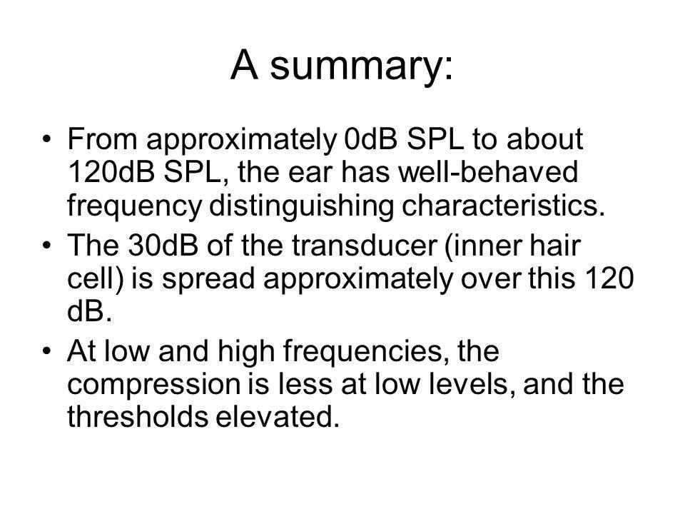 A summary: From approximately 0dB SPL to about 120dB SPL, the ear has well-behaved frequency distinguishing characteristics.
