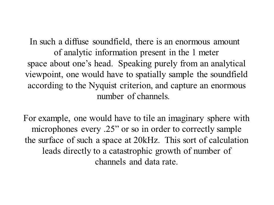 In such a diffuse soundfield, there is an enormous amount