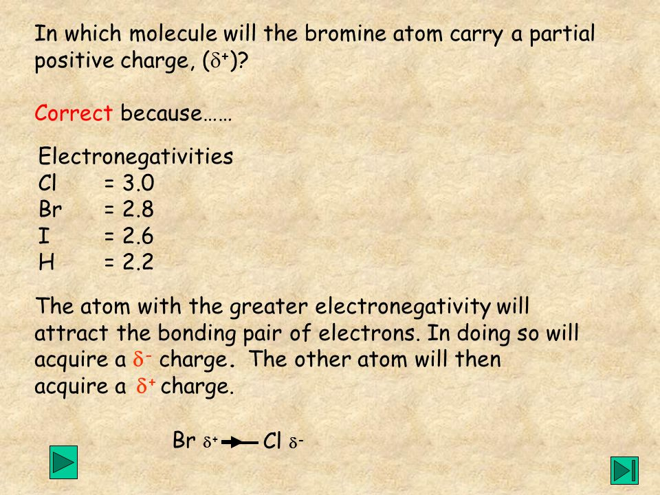 In which molecule will the bromine atom carry a partial
