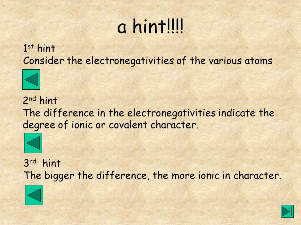 a hint!!!! 1st hint. Consider the electronegativities of the various atoms. 2nd hint. The difference in the electronegativities indicate the.