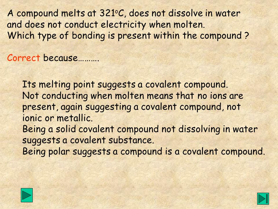A compound melts at 321oC, does not dissolve in water