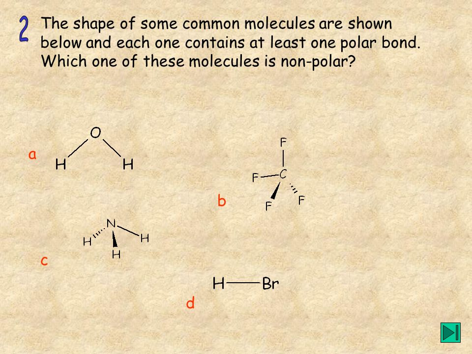 The shape of some common molecules are shown below and each one contains at least one polar bond. Which one of these molecules is non-polar