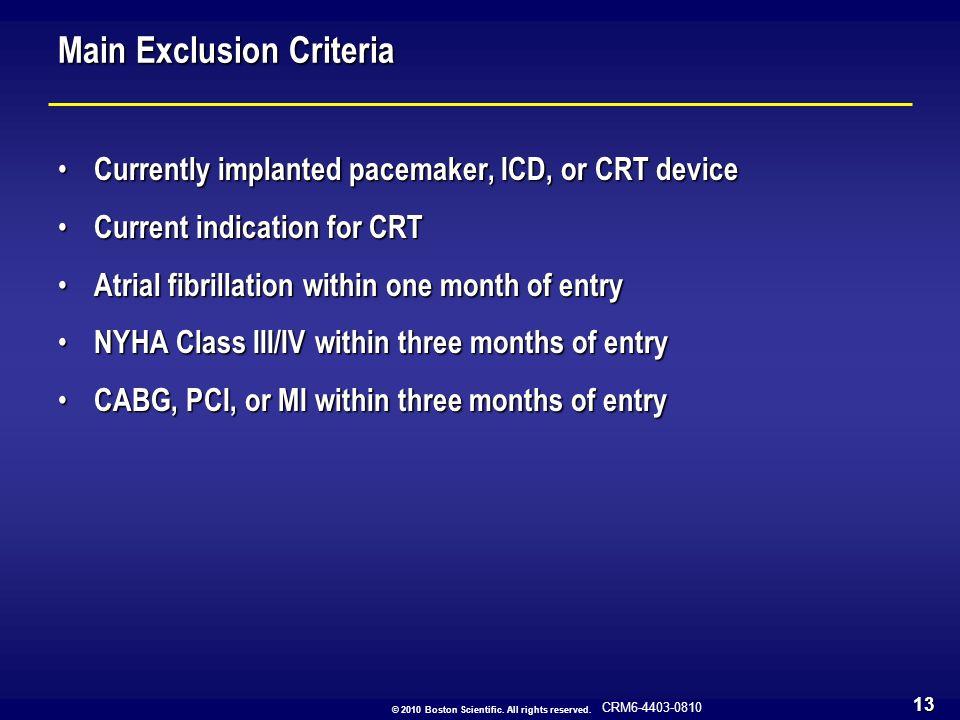 Main Exclusion Criteria