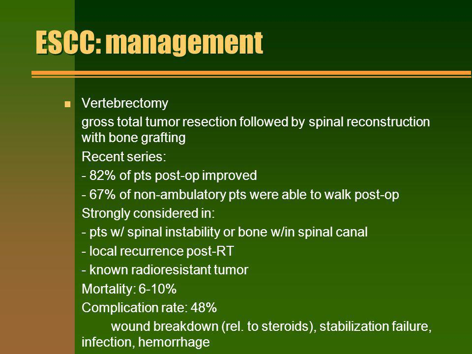 ESCC: management Vertebrectomy