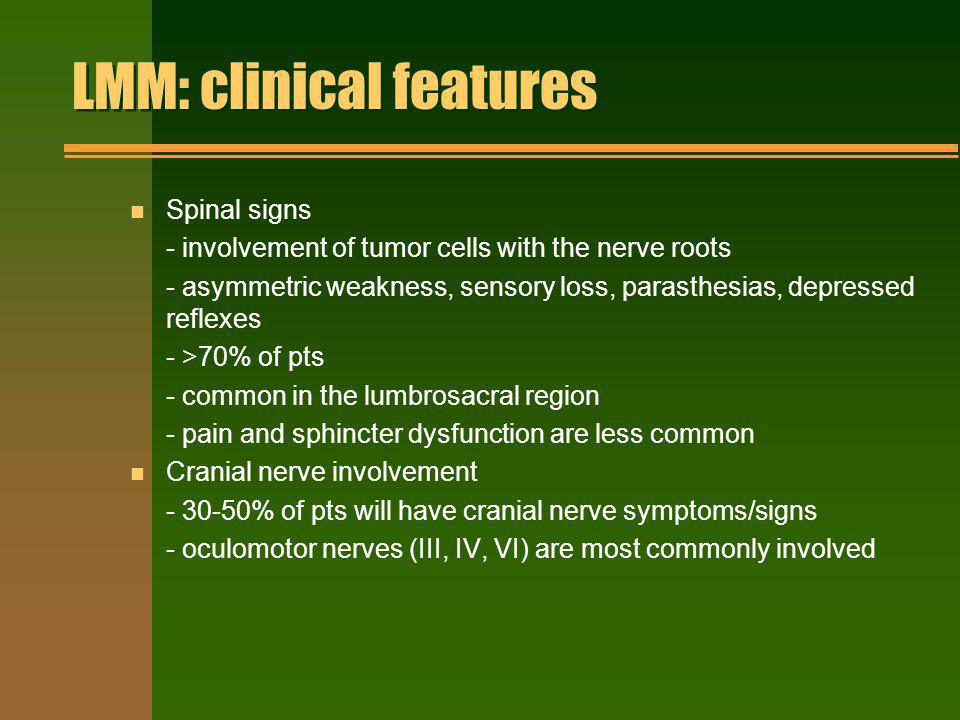 LMM: clinical features