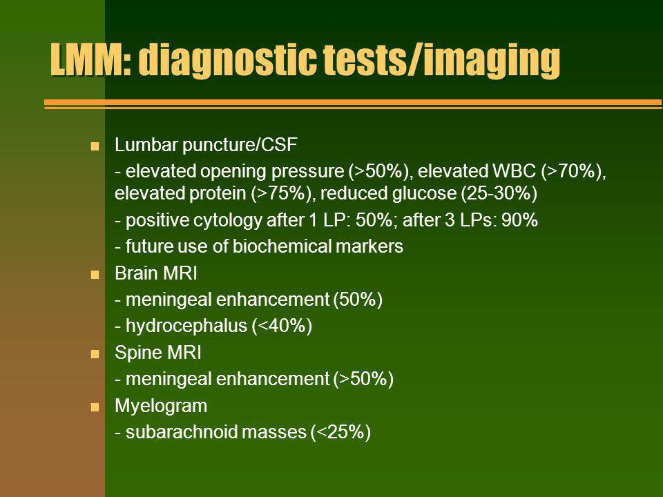 LMM: diagnostic tests/imaging