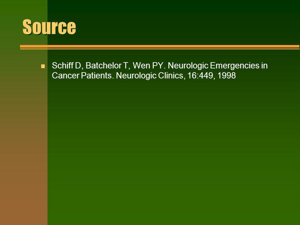 Source Schiff D, Batchelor T, Wen PY. Neurologic Emergencies in Cancer Patients.