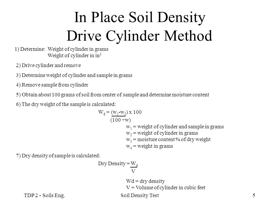 In Place Soil Density Drive Cylinder Method