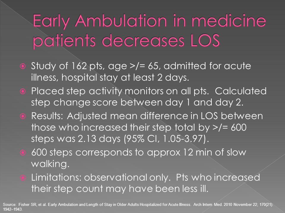 Early Ambulation in medicine patients decreases LOS