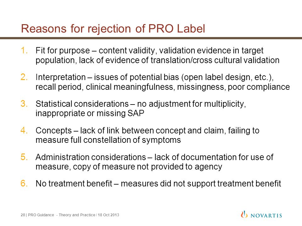 Reasons for rejection of PRO Label
