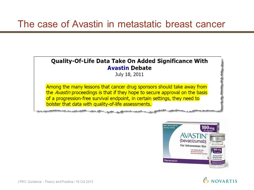 The case of Avastin in metastatic breast cancer