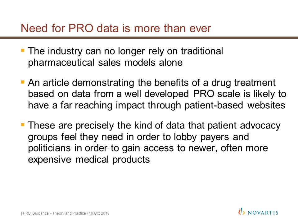 Need for PRO data is more than ever
