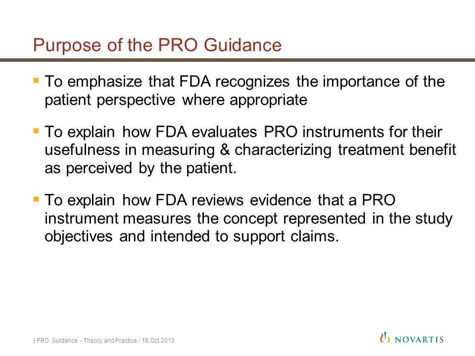 Purpose of the PRO Guidance