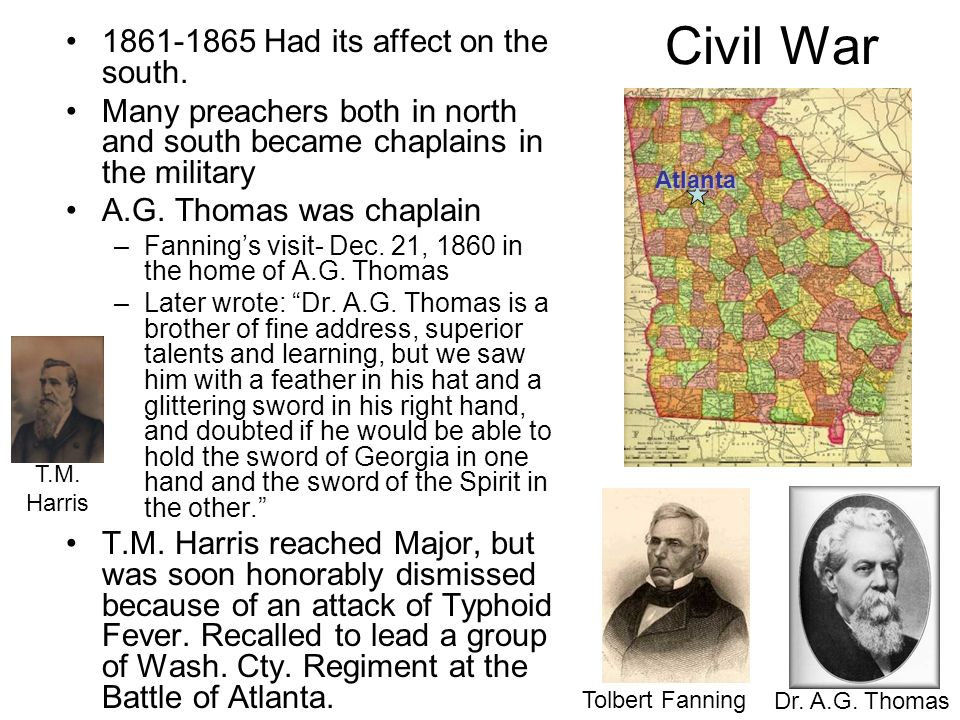 Civil War 1861-1865 Had its affect on the south.