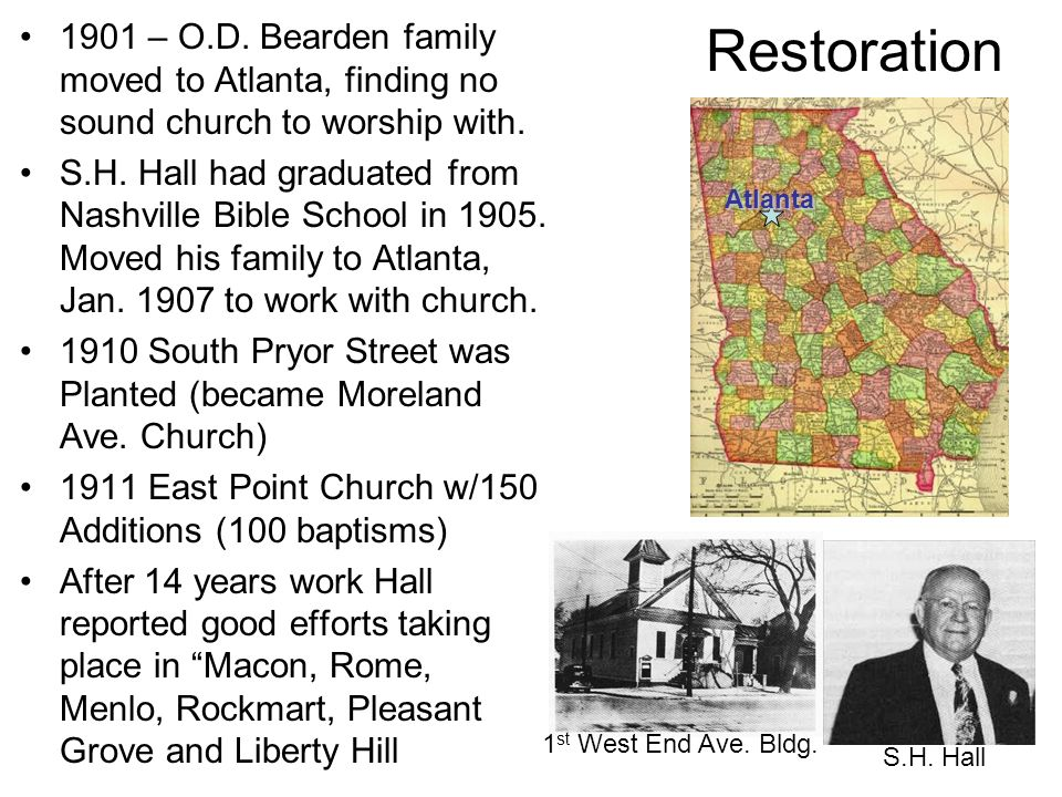 1901 – O.D. Bearden family moved to Atlanta, finding no sound church to worship with.