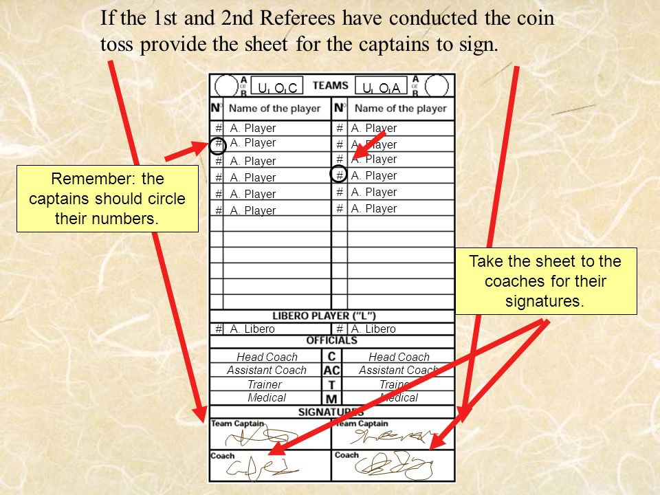 If the 1st and 2nd Referees have conducted the coin toss provide the sheet for the captains to sign.