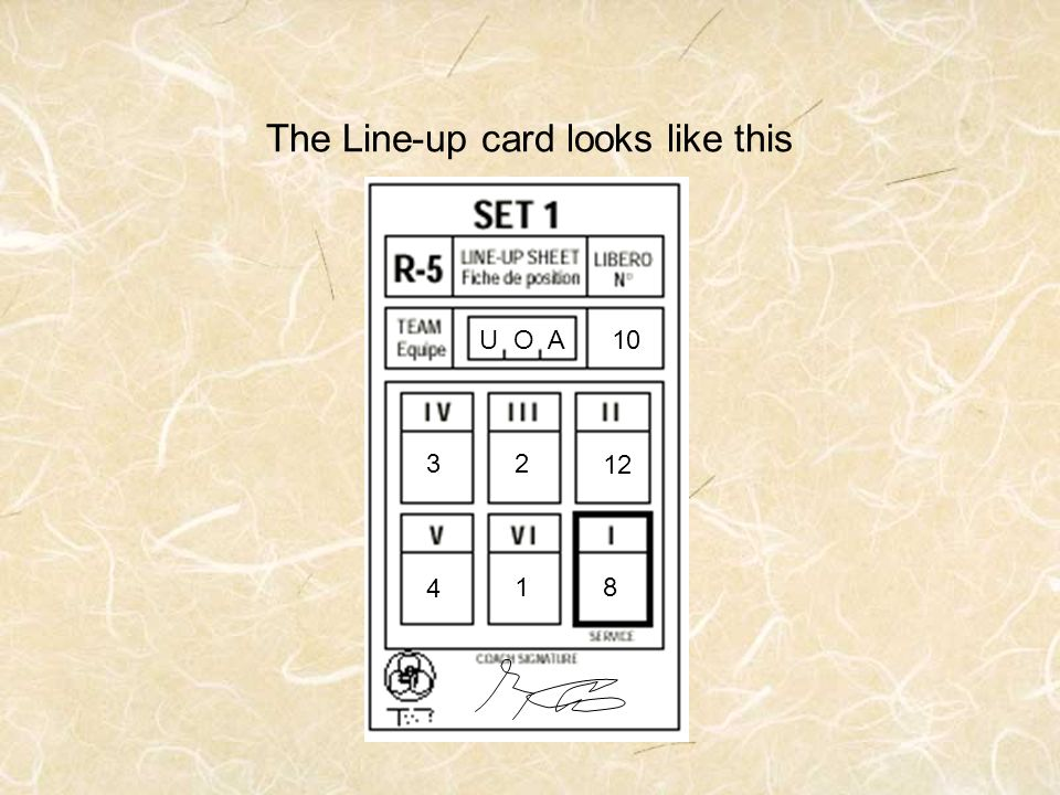 The Line-up card looks like this