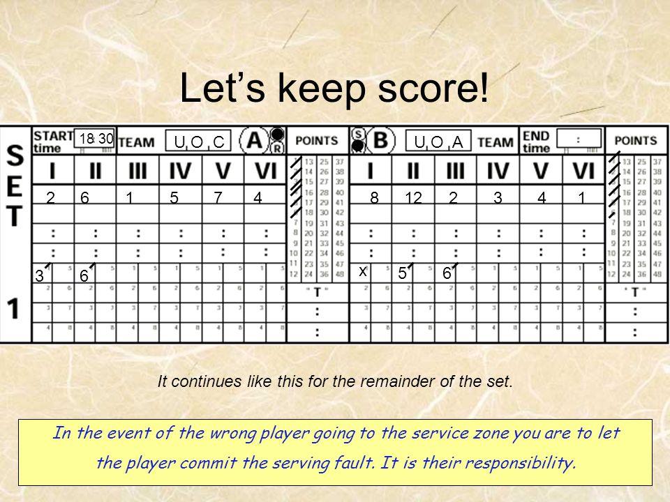 Let's keep score! U O A U O C 8 12 2 3 4 1 6 5 7 x 3 6 5 6
