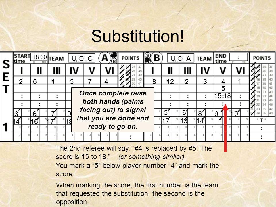 Substitution! 18 30. U O A. U O C. 8. 12. 2. 3. 4. 1. 6. 5. 7. x. 5.
