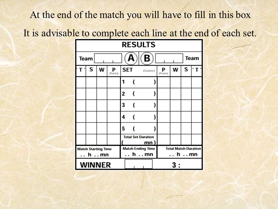 At the end of the match you will have to fill in this box