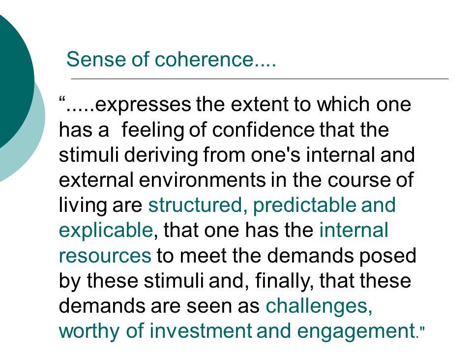 Sense of coherence....