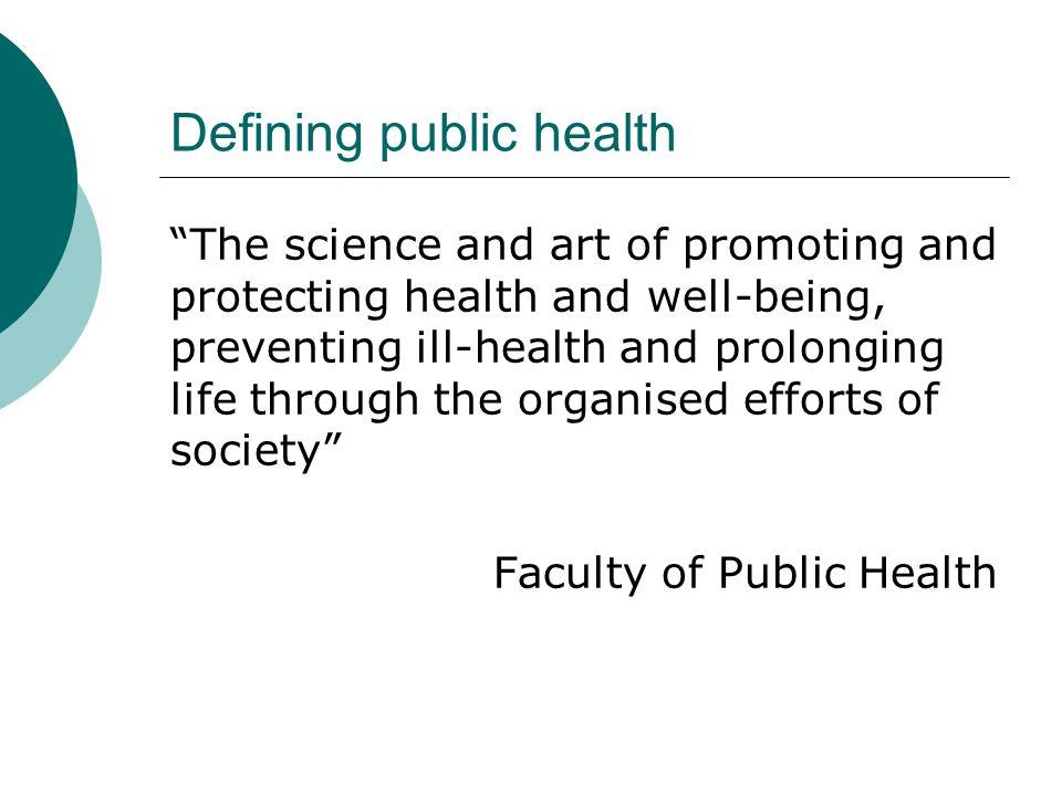 Defining public health