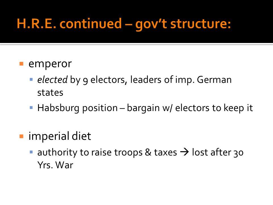 H.R.E. continued – gov't structure: