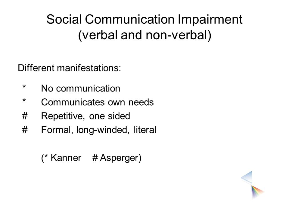 Social Communication Impairment (verbal and non-verbal)