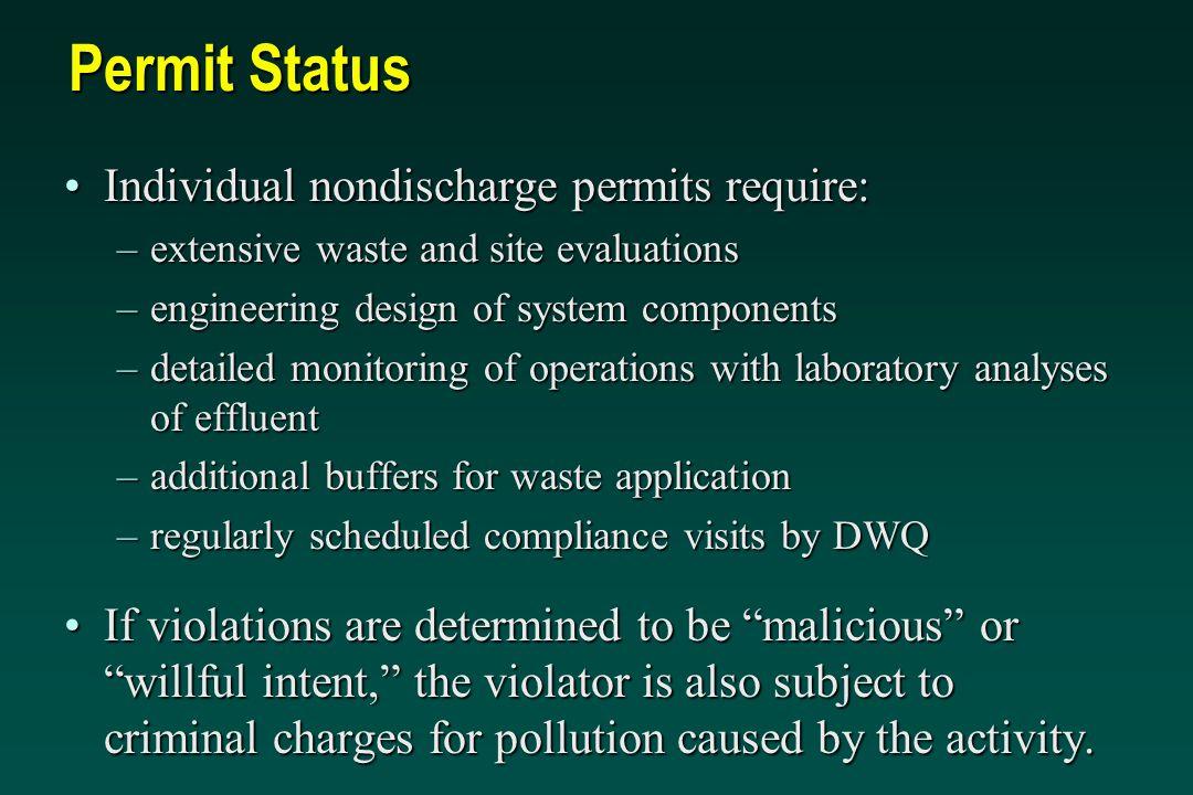 Permit Status Individual nondischarge permits require: