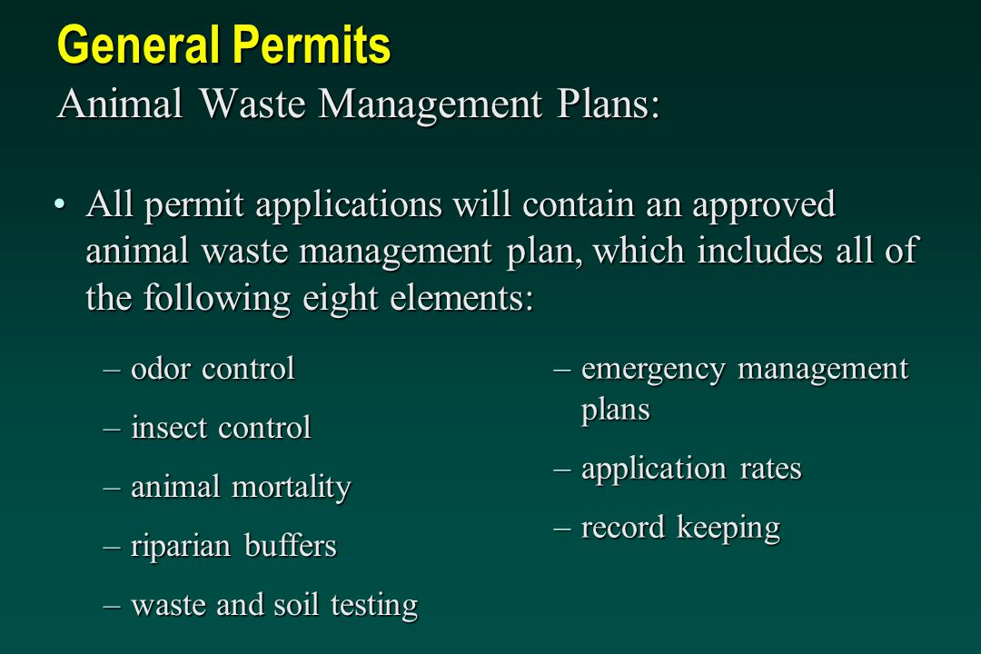 General Permits Animal Waste Management Plans: