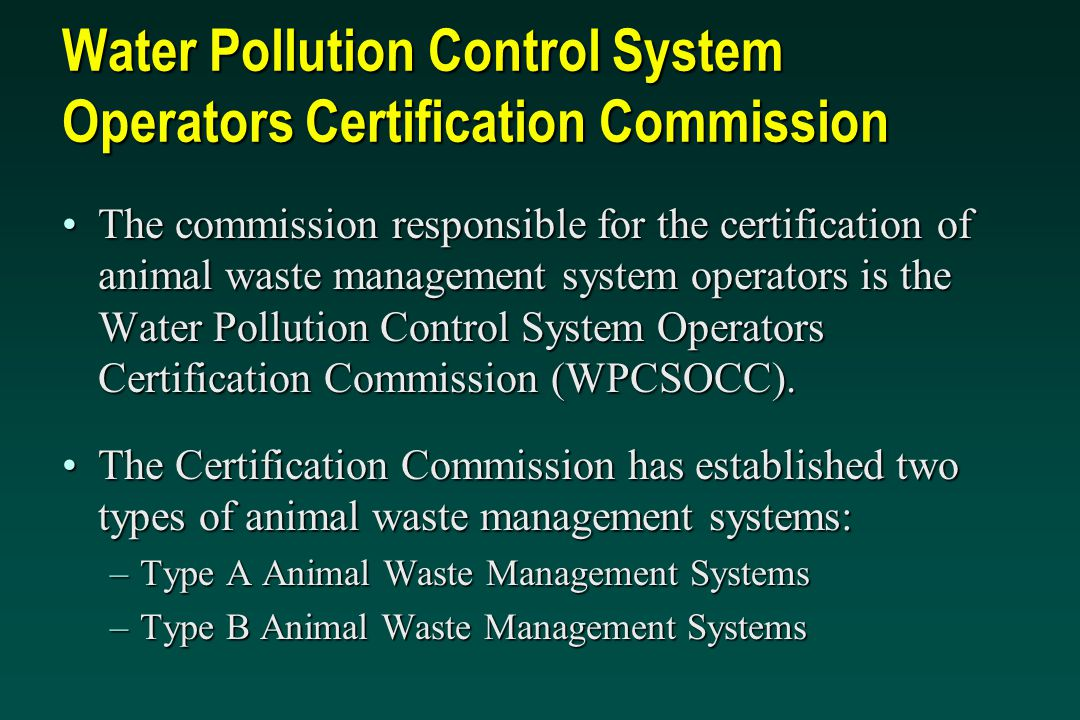 Water Pollution Control System Operators Certification Commission