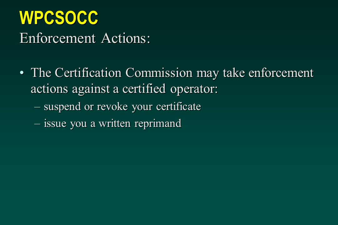 WPCSOCC Enforcement Actions: