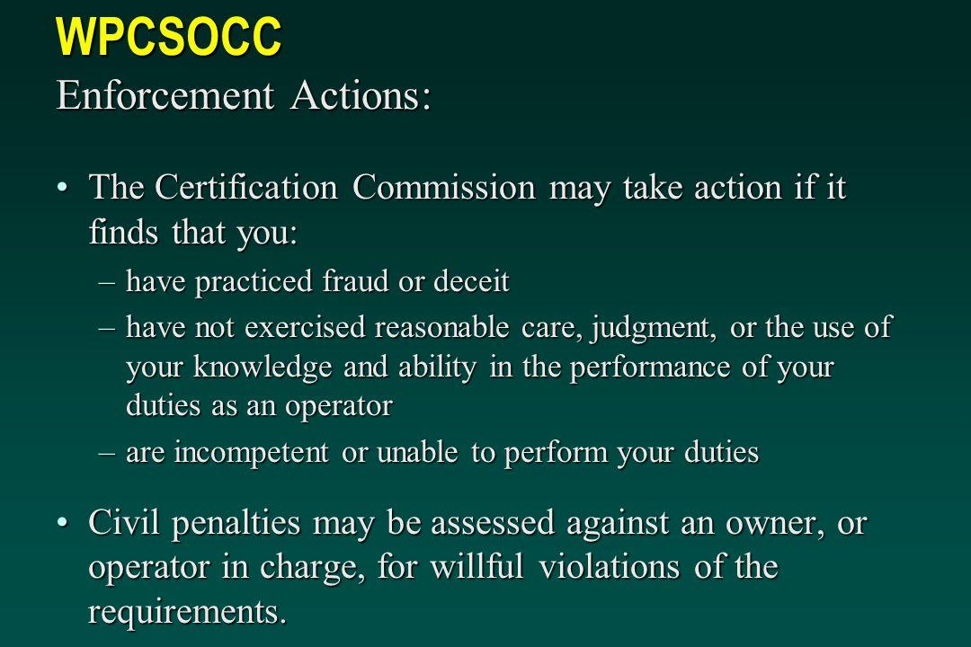 WPCSOCC Enforcement Actions:
