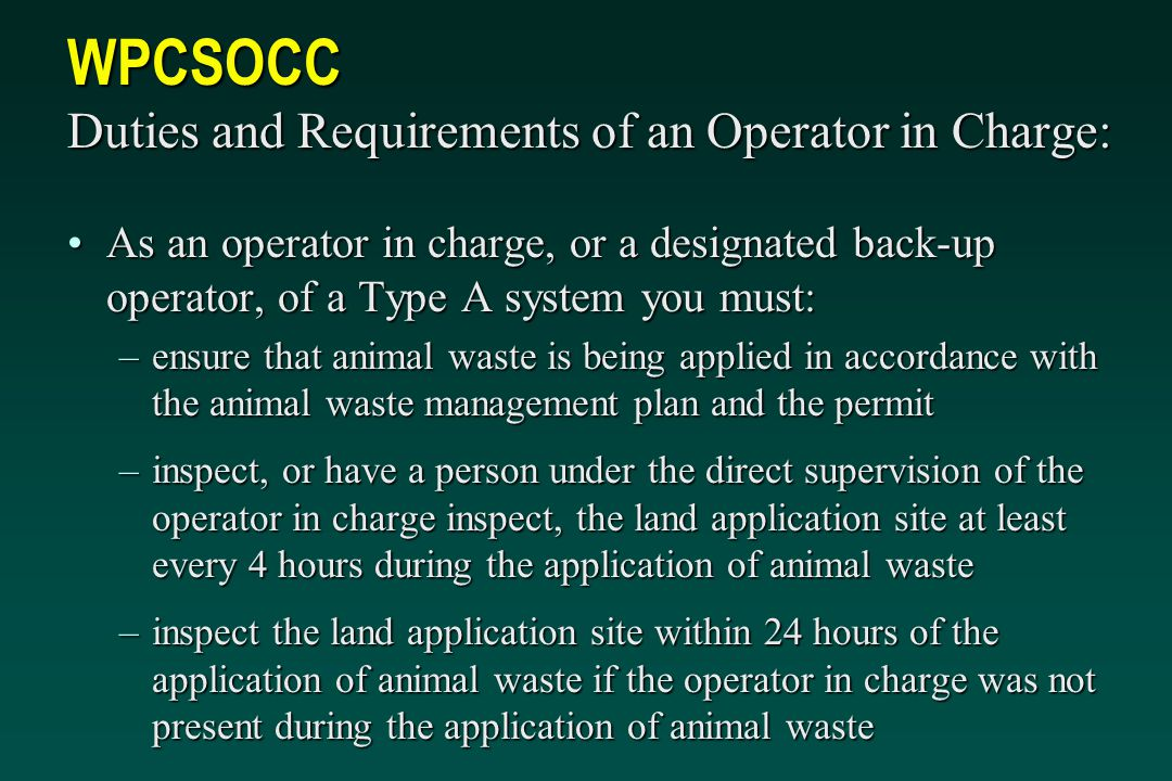 WPCSOCC Duties and Requirements of an Operator in Charge: