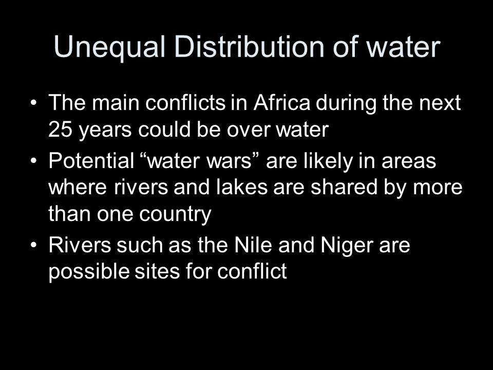 Unequal Distribution of water