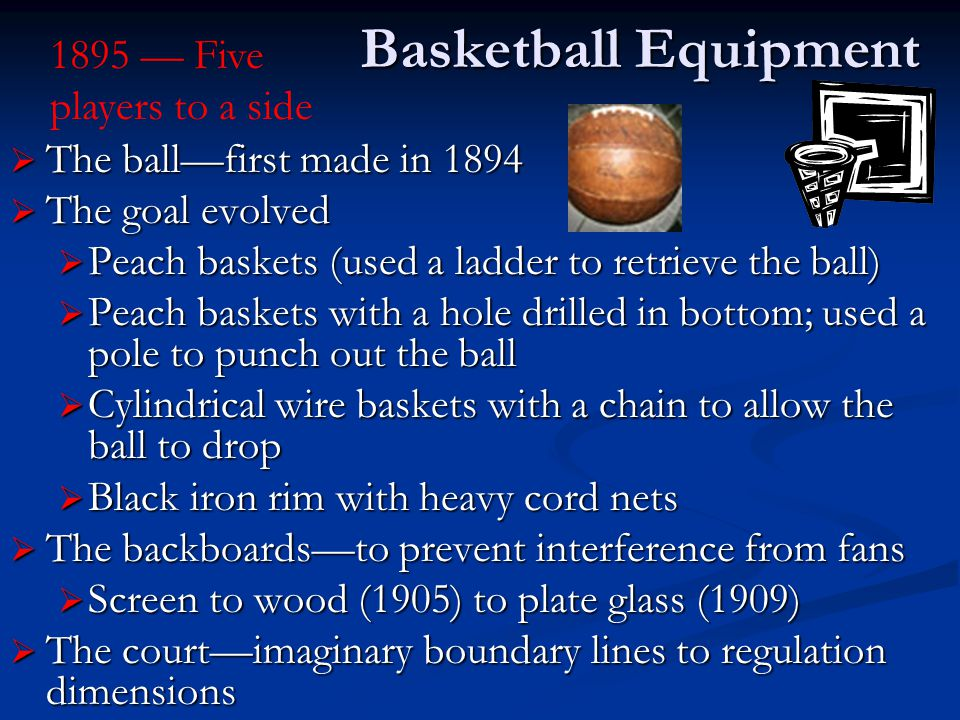 Basketball Equipment 1895 — Five players to a side
