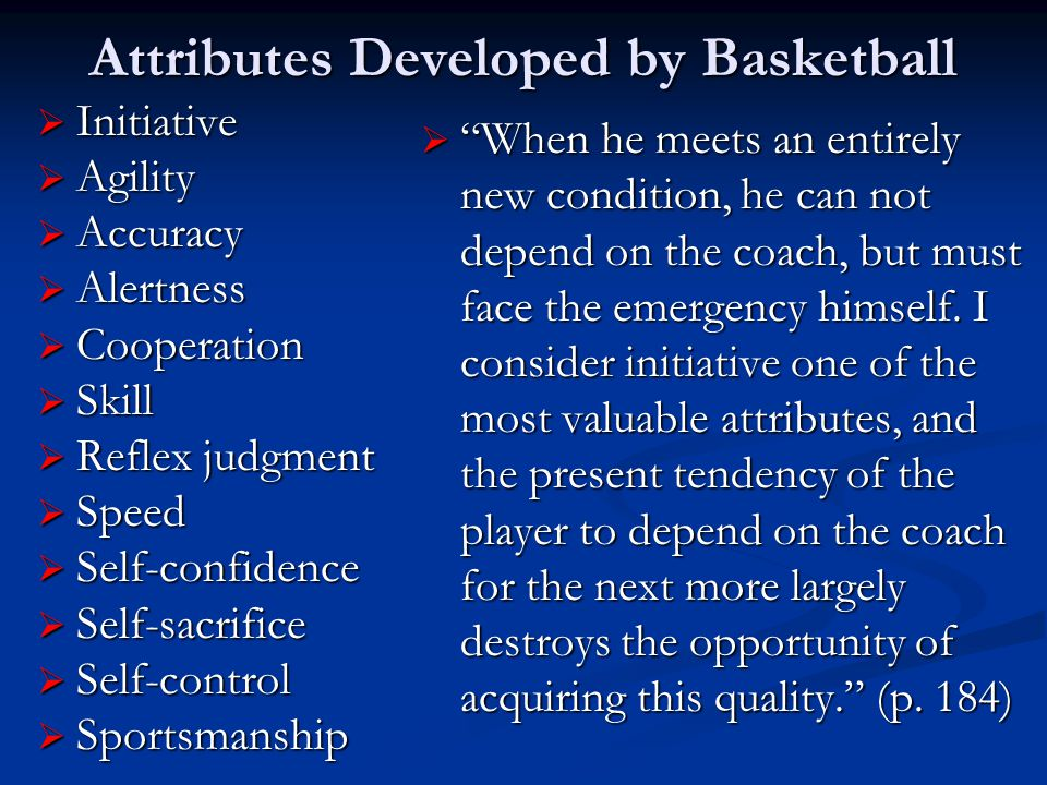 Attributes Developed by Basketball