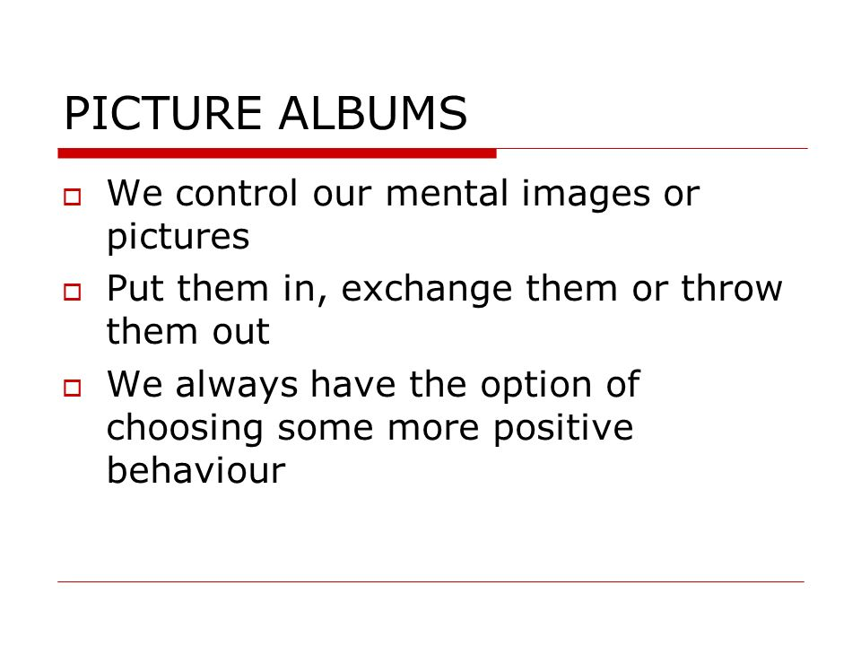 PICTURE ALBUMS We control our mental images or pictures