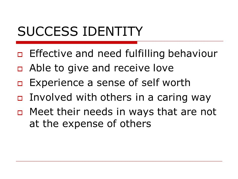 SUCCESS IDENTITY Effective and need fulfilling behaviour
