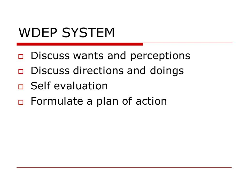 WDEP SYSTEM Discuss wants and perceptions