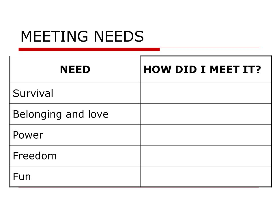 MEETING NEEDS NEED HOW DID I MEET IT Survival Belonging and love