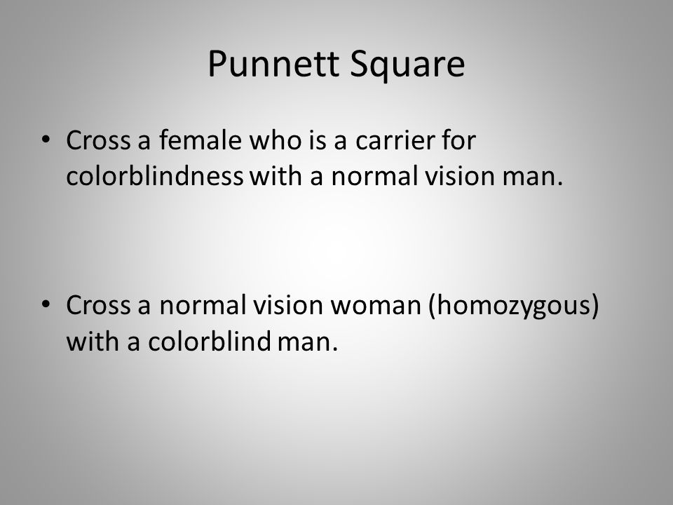 Punnett Square Cross a female who is a carrier for colorblindness with a normal vision man.