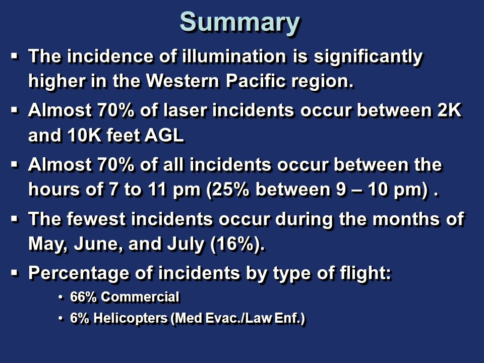 Summary The incidence of illumination is significantly higher in the Western Pacific region.