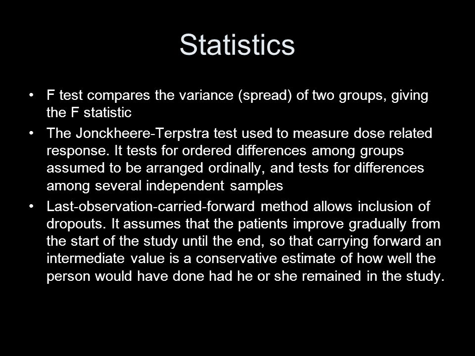 Statistics F test compares the variance (spread) of two groups, giving the F statistic.