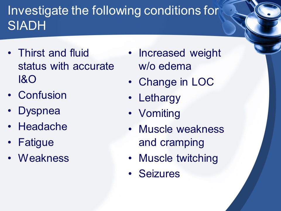 Investigate the following conditions for SIADH