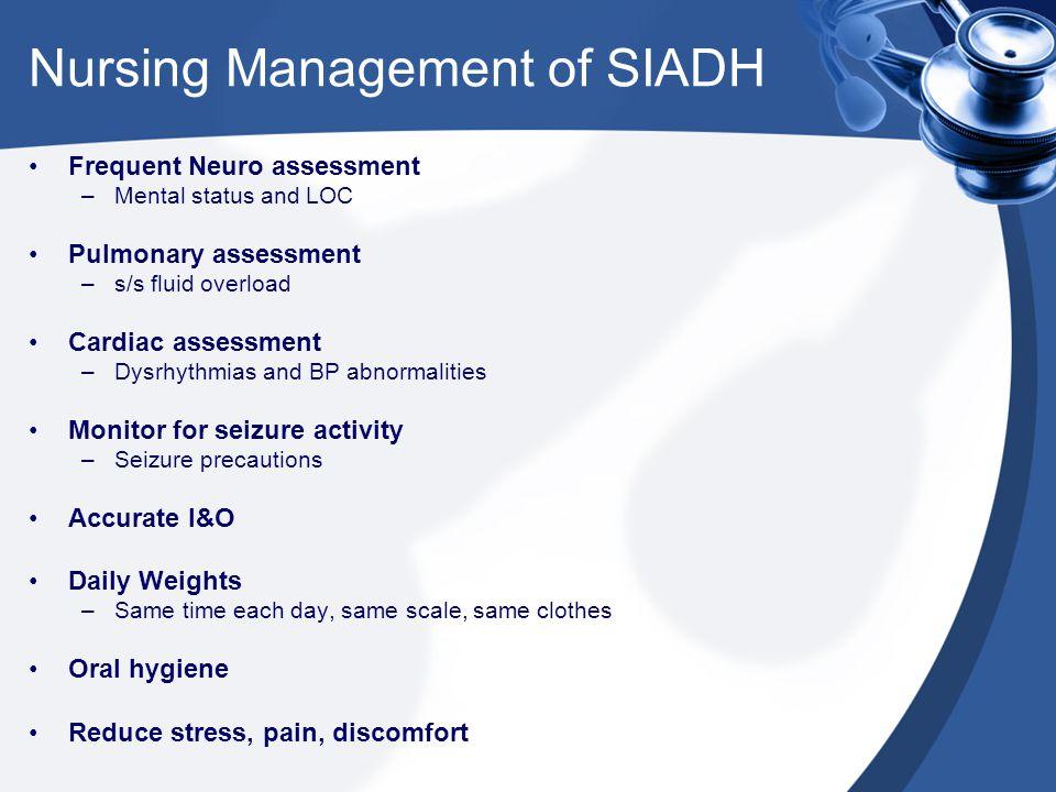 Nursing Management of SIADH