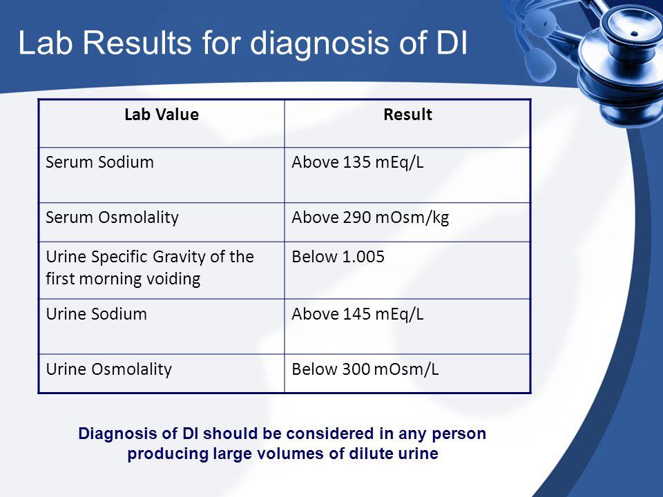 Lab Results for diagnosis of DI