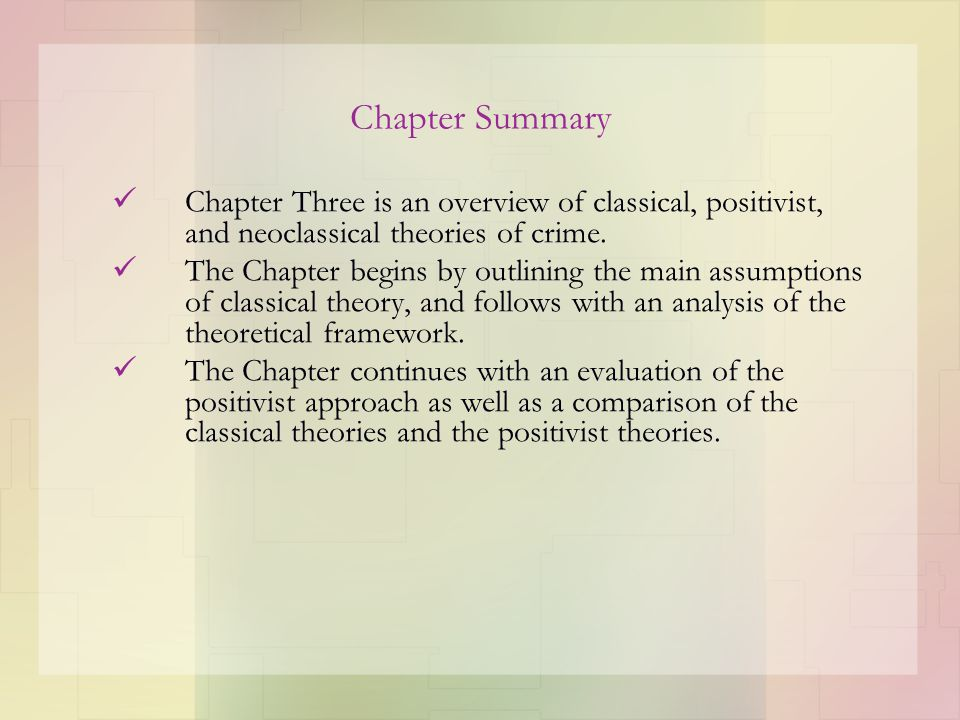 classical and the positivist schools of criminology essay Classical and the positivist schools of criminology essay sample criminology is basically the study of crime as a social event, including the consequences, types, prevention, causes and punishment of crime, and criminal behavior, as well as the impact and development of laws.