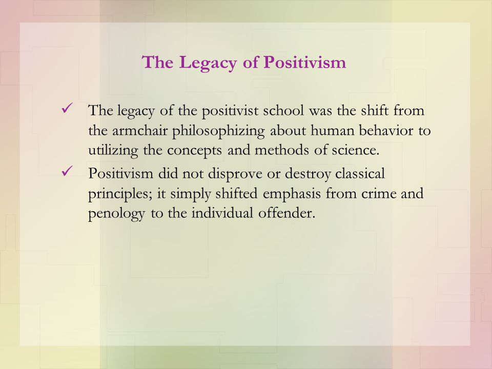 The Legacy of Positivism