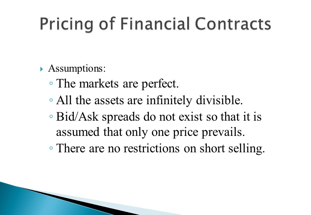 Pricing of Financial Contracts